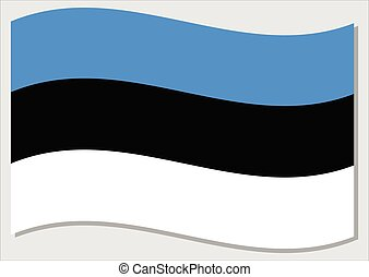 Waving flag of Estonia vector graphic. Waving Estonian flag illustration. Estonia country flag wavin in the wind is a symbol of freedom and independence.