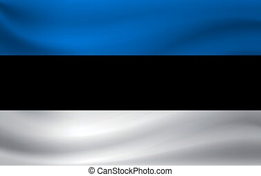 Waving flag of Estonia. Vector illustration
