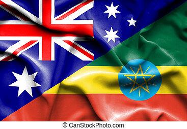 Waving flag of Ethiopia and Australia