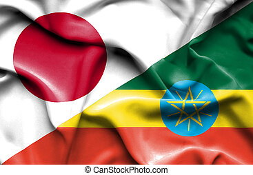Waving flag of Ethiopia and Japan