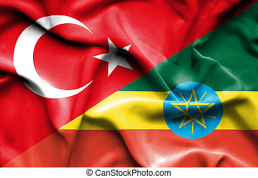 Waving flag of Ethiopia and Turkey