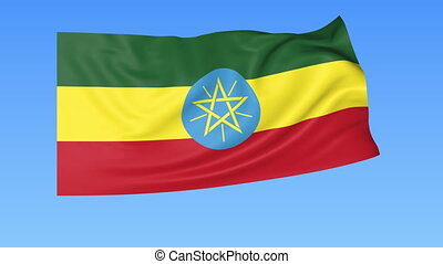 Waving flag of Ethiopia, seamless loop. Exact size, blue background.