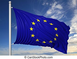 Waving flag of EU on flagpole, on blue sky background.