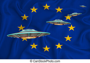 Waving flag of eu. UFO group on the background of the flag. UFO news concept in the country. 3D rendering