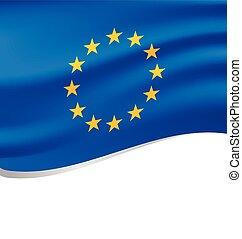 Waving flag of European isolated on white - Waving flag of...