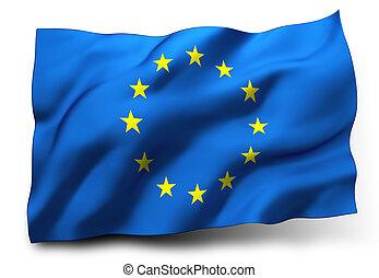 flag of Europe - Waving flag of European Union isolated on ...