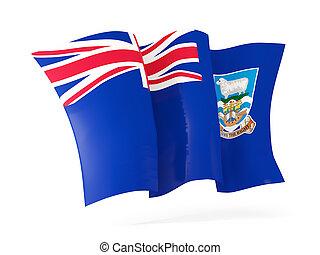 Waving flag of falkland islands isolated on white. 3D illustration