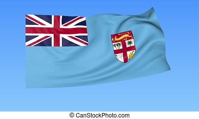 Waving flag of Fiji, seamless loop. Exact size, blue background. Part of all countries set. 4K ProRes with alpha