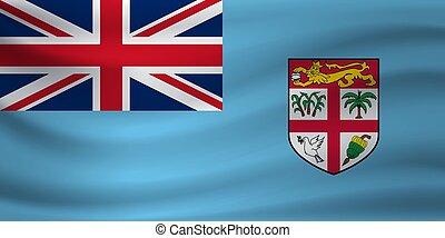 Waving flag of Fiji. Vector illustration