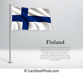 Waving flag of Finland on flagpole. Template for independence day