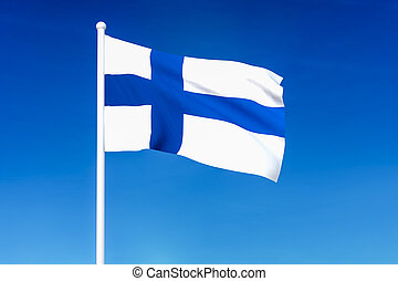Waving flag of Finland on the blue sky background