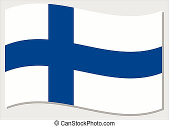 Waving flag of Finland vector graphic. Waving Finnish flag illustration. Finland country flag wavin in the wind is a symbol of freedom and independence.