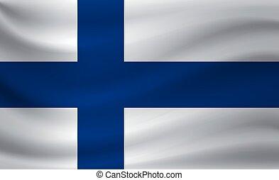 Waving flag of Finland. Vector illustration