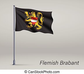 Waving flag of Flemish Brabant - province of Belgium on flagpole. Template for independence day