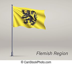 Waving flag of Flemish Region of Belgium on flagpole. Template for independence day