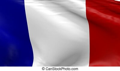 Waving flag of France, 3d animation