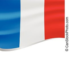 Waving flag of France isolated on white