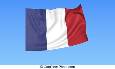 Waving flag of France, seamless loop. Exact size, blue background. Part of all countries set. 4K ProRes with alpha.
