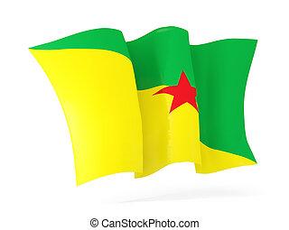 Waving flag of french guiana. 3D illustration