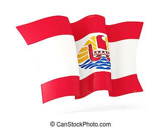 Waving flag of french polynesia. 3D illustration