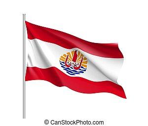 Waving flag of French Polynesia