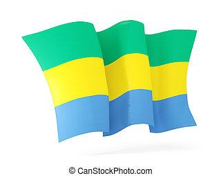 Waving flag of gabon. 3D illustration