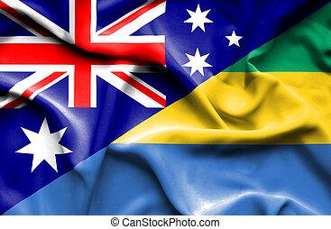 Waving flag of Gabon and Australia