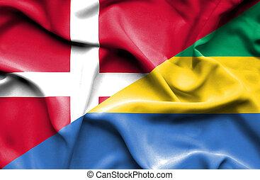 Waving flag of Gabon and Denmark