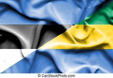 Waving flag of Gabon and Estonia