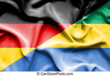 Waving flag of Gabon and Germany