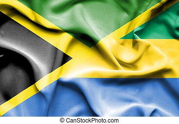 Waving flag of Gabon and Jamaica