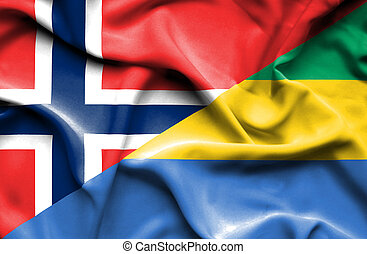 Waving flag of Gabon and Norway