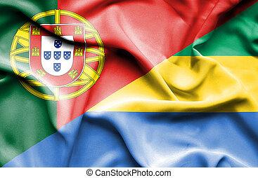 Waving flag of Gabon and Portugal