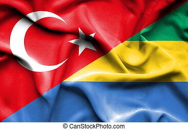 Waving flag of Gabon and Turkey