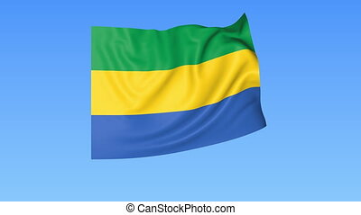 Waving flag of Gabon, seamless loop. Exact size, blue background. Part of all countries set. 4K ProRes with alpha