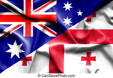 Waving flag of Georgia and Australia