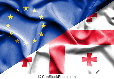 Waving flag of Georgia and EU