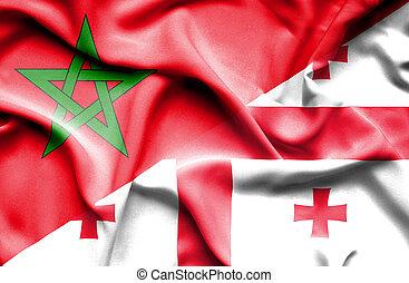 Waving flag of Georgia and Morocco
