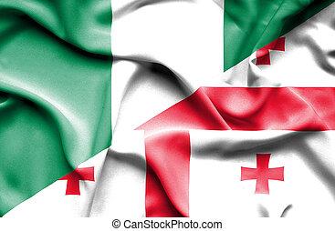Waving flag of Georgia and Nigeria