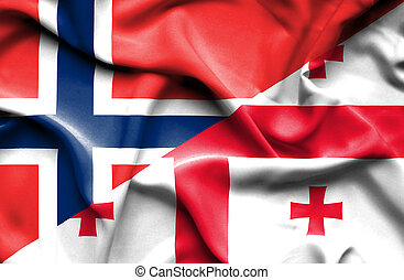 Waving flag of Georgia and Norway