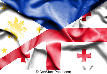 Waving flag of Georgia and Philippines