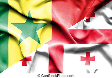 Waving flag of Georgia and Senegal