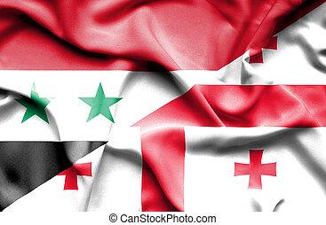 Waving flag of Georgia and Syria