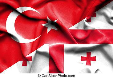 Waving flag of Georgia and Turkey