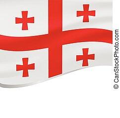 Waving flag of Georgian isolated on white