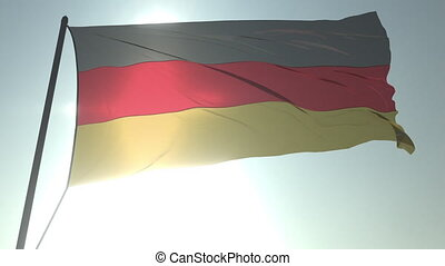 Waving flag of Germany against shining sun and sky. Realistic loopable 3D animation