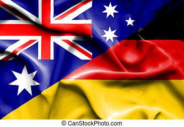 Waving flag of Germany and Australia