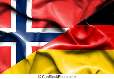 Waving flag of Germany and Norway