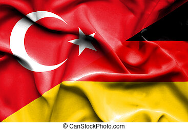 Waving flag of Germany and Turkey