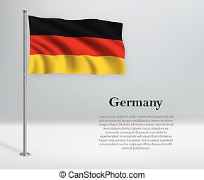 Waving flag of Germany on flagpole. Template for independence day